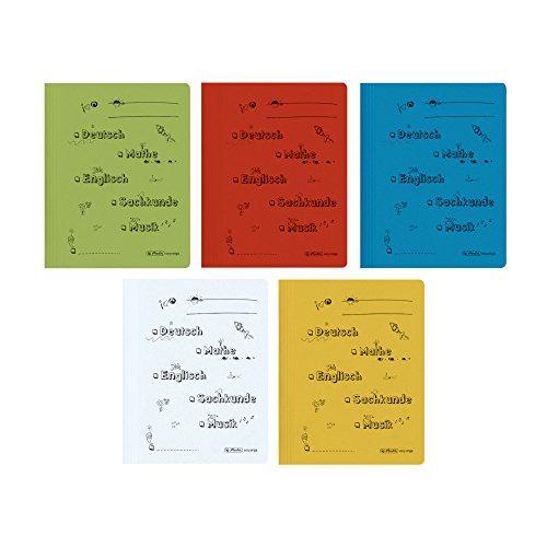 Herlitz 11253820 Schnellhefter A4 mit Schulfach-Aufdruck für die Grundschule, kaufmännische- und Behördenheftung, 5 Stück