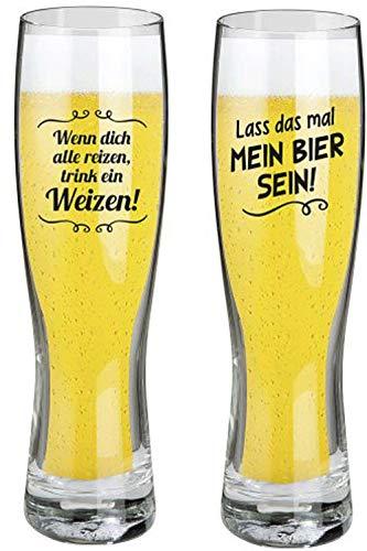 Bierglas Weizenbierglas Set 2 Stück mit lustigen Sprüchen Modernes Design Lass das mal Mein Bier sein und Wenn dich alle reizen trink ein Weizen 0,5 L