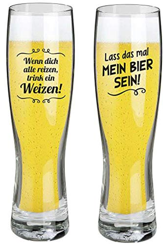 Juego de 2 vasos de cerveza de trigo con frases divertidas, diseño moderno con texto en alemán