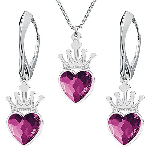 Juego de joyas de plata de ley 925 con cristales de Swarovski – Corona corazón – Fucsia – Pendientes colgantes para mujer – Collar con colgante – Joyas para mujer con caja de regalo
