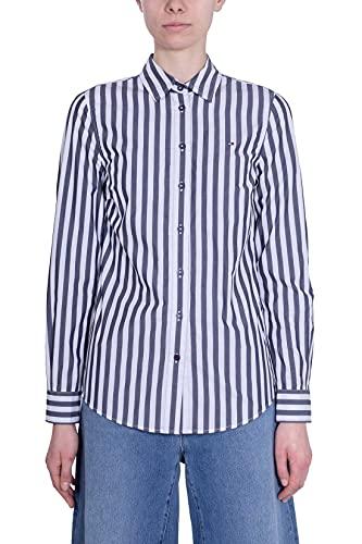 Tommy Hilfiger - Camisa de mujer de algodón orgánico a rayas turquesa 32
