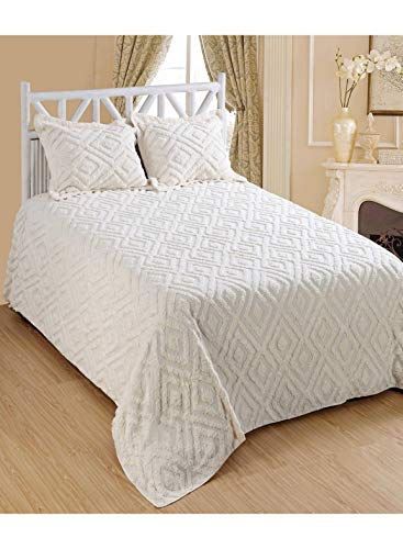 Saral Home Fashions Luxury 3 Piece Bedspread Set Tufted Cotton Chenille Medallion Coverlet Fringe Border Chic Quilt Matching Standard Size Sham Plush Diamond Embroidered( Queen, Ivory)