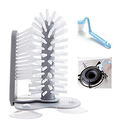 Yzwen Glass Washer Brush Cleaner with Suction Base Double Sided Bristle, Standing Glass Bottle Cup Cleaner for Bar Kitchen Sink Washing Cleaning Tools with Curved Cleaning Brush,A