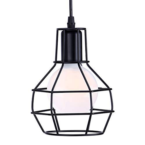 KAWELL Vintage Lámpara Colgante de Luz de Techo Industrial Retro Lámpara de Araña Luz Pendiente E27 Base Hierro para Cafe, Loft, Bar, Restaurante, Estudio, Cocina, Dormitorio, Negro