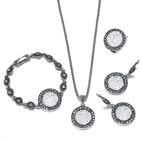 RG-FA Juego de 4 piezas de joyería para mujer, collar, pendientes, anillo y pulsera de boda, color blanco 9