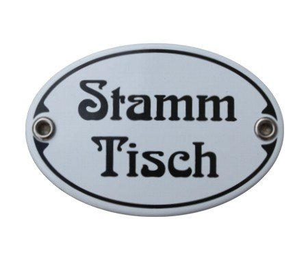 Türschild Stamm Tisch Emaille Schild Stammtisch Jugendstil 7 x 10,5 cm Emailschild weiß (ohne Holzrahmen)