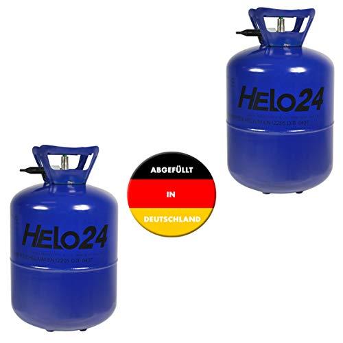 Helo 2er Set Helium Ballongas (2 x 0,25m³ Gas für ca. 60 Luftballons), Gasflasche mit Sperrvorrichtung und Knickventil für einfache Befüllung, 2 x 7,1l Flaschen (ohne Luftballons)