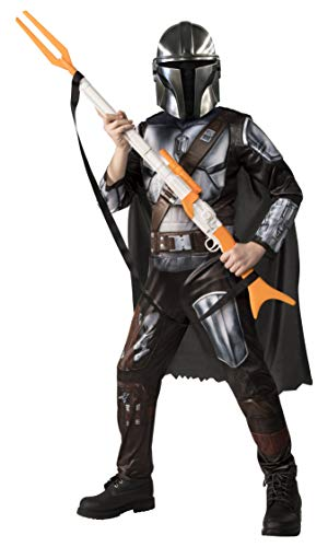 Star Wars The Mandalorian Kids Halloween Costume Medium (8/10) Jumpsuit/Cape/Mask/Holographic Detail