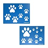 Dog Cat Paw Print Stencils, 2 Sheets per Pack Various Paw Print Sizes, 4', 3', 2.5', 2', 1.75' 1.5', 1' Tall