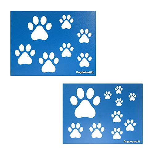 """Dog Cat Paw Print Stencils, 2 Sheets per Pack Various Paw Print Sizes, 4"""", 3"""", 2.5"""", 2"""", 1.75"""" 1.5"""", 1"""" Tall"""