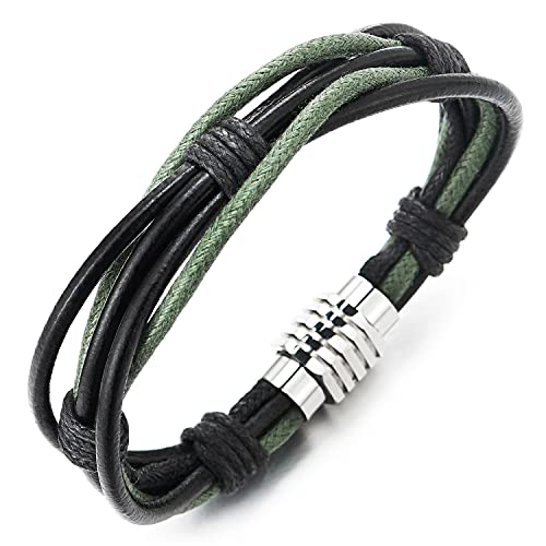 COOLSTEELANDBEYOND Cuero negro entrelazado con cuerda de algodón verde claro pulsera brazalete acero cabeza tornillo cierre magnético