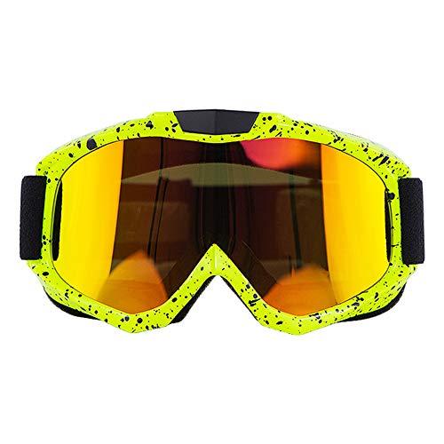 DishyKooker - Occhiali da motocicletta, per motocross, classe, occhiali da sole, montatura gialla, lenti dorate