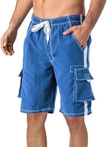 TACVASEN Herren Laufshorts Schwimmen Beach Hose Bagyy Shorts Sommer Surfen Wassersport mit Cargotaschen, Blau