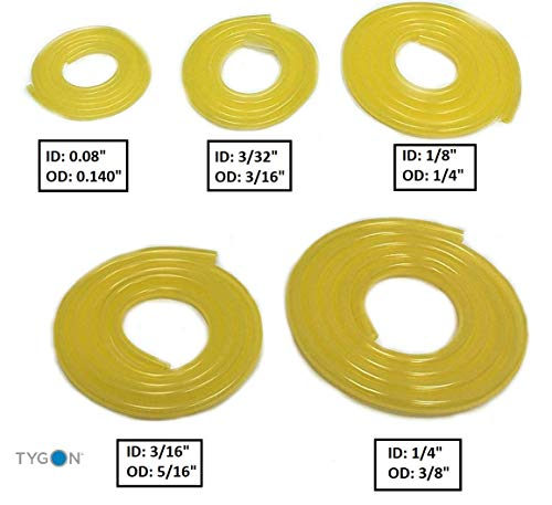 Tygon Genuine F-4040-A Clear Yellow Fuel Line 5 Sizes Variety Pack (3 FT Each)