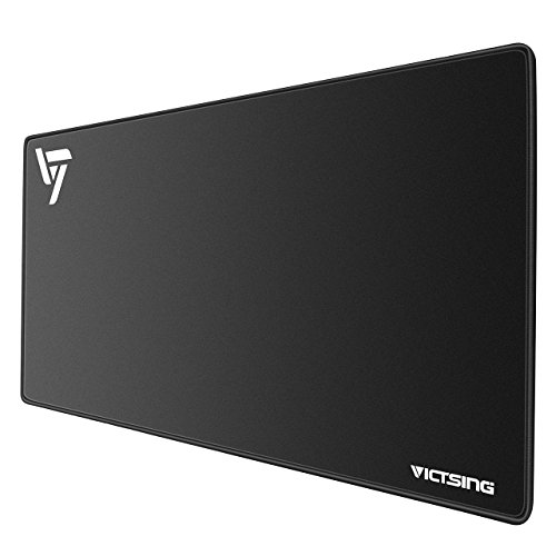 VicTsing [30% Larger] Extended Gaming Mouse Pad with Stitched Edges, Long XXL Mousepad (31.5x15.7In), Desk Pad Keyboard Mat, Non-Slip Base, Water-Resistant, for Work & Gaming, Office & Home, Black