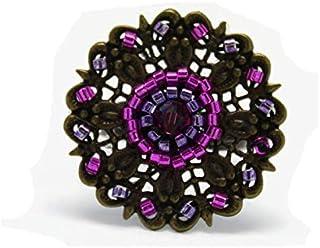 Anello perline di vetro giapponese fiore retrò vintage rosa viola in ottone malva 25mm regolabile regalo di Natale nonna m...