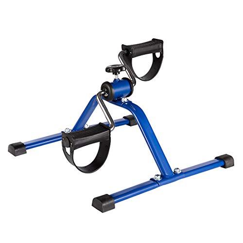 Bicicleta estática para piernas Inicio Mini bicicleta estática silenciosa Bicicleta estática para ancianos Equipo de ejercicio para ejercicios de rehabilitación de piernas Pérdida de peso,Azul