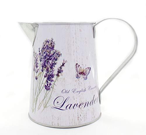 DARO DEKO Metall Kanne - 15cm hoch Lavendel und Schmetterling 1 Stück