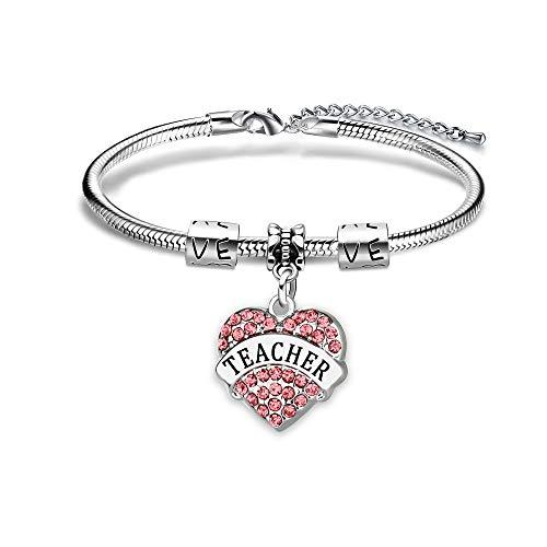 YONGHUI Teacher Charm Adjustable Snake Bracelet Pink Crystal Love Heart Pendant Bangle Bracelets Jewellery For Women Teachers Day Graduation Birthday Christmas Gifts (Pink)