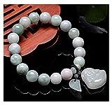 2 unids feng shui riqueza pulsera jade bangle jadeite estiramiento pulsera con budismo colgante jade pulsera, perlas de Buda natural atraen buena suerte dinero afortunado encantos regalo para mujeres