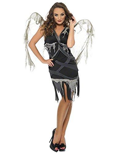 Zombie Ángel Caído Halloween para mujer Disfraz Negro Gris: Amazon ...