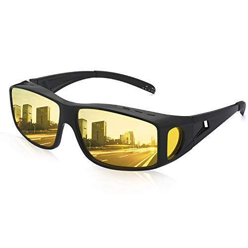 Wrap Around Night Vision Glasses Anti Glare, Day & Night Driving Polarized Sunglasses Fit Over Prescription Glasses (Night Vision / Matte Black)