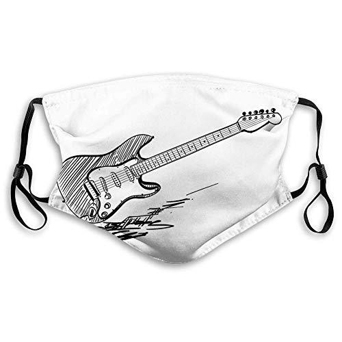 Máscara de carbón activado a prueba de viento, guitarra eléctrica estilo dibujado a mano sobre fondo blanco acuerdos de música rock arte bosquejo, decoraciones faciales para adultos