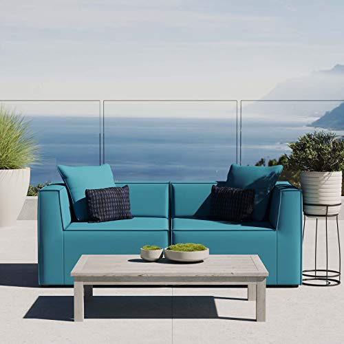 Modway EEI-4377-TUR Saybrook Patio Upholstered 2-Piece Sectional Sofa Loveseat in Turquoise