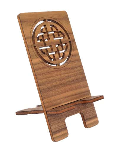 Cell Phone Stand - Walnut Celtic Knot Cell Phone Stand - Wood Phone Stand - 5th Anniversary Gift for Men