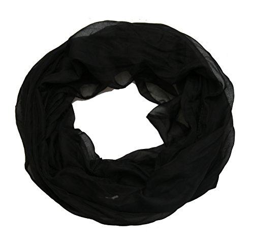 ACC Damen Seide Loop Schal leicht unifarben (schwarz)