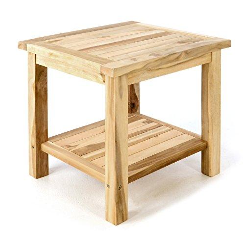 Divero Beistelltisch Blumen Hocker Balkontisch Teak Holz Tisch für Bad Terrasse Balkon Garten – wetterfest stabil unbehandelt – 50 x 50 cm Natur braun behandelt (wählbar) (Natur)