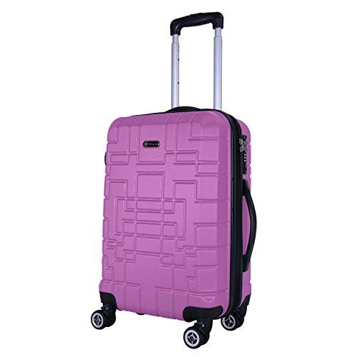 SHAIK® Serie XANO HKG Design Hartschalen Trolley, Koffer, Reisekoffer, in 3 Größen M/L/XL/Set 45/80/120 Liter, 4 Doppelrollen, TSA Schloss (Handgepäck M, Lila)