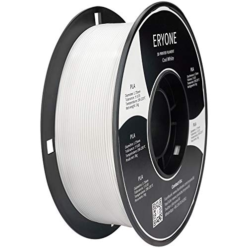 ERYONE PLA Filament for 3D Printer, Filament PLA 1.75mm, No-Tangling,Dimensional Accuracy +/-0.03mm, 1kg(2.2lbs)/Spool, Cool White