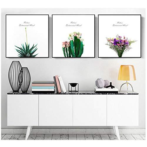 nr De Scandinavische spreuken op canvas geschilderd decoratief schilderij kleine verse potplanten schilderijen -50x50cm No Frame