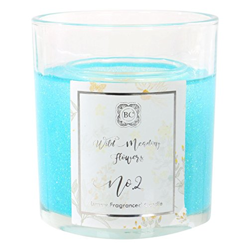 Baltus Candles Indulgence Collection Glittery Gel Votive Candle With Wild Meadow Flowers Fragrance - Turquoise
