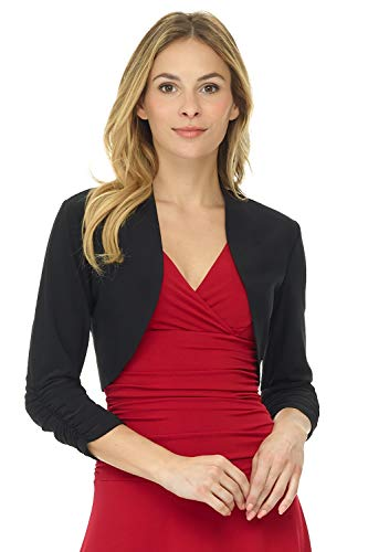 Rekucci Women's Chic Soft Knit Stretch Bolero Shrug with Ruched Sleeves (Small,Black)