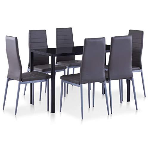 vidaXL Essgruppe 7-TLG. Esszimmertisch Esstischset Esszimmergarnitur Küchentisch Esszimmer Stuhl Tisch Set Sitzgruppe Esstisch mit 6 Stühlen Grau