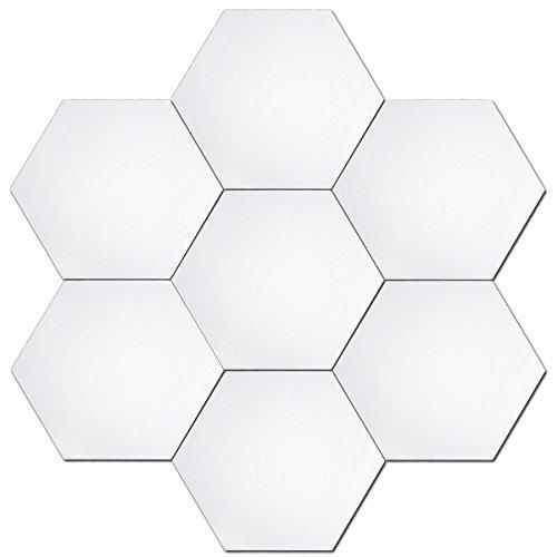 Anladia Spiegelfliesen Wandspiegel Selbstklebend Groß, 24 Stück Hexagon-Spiegel Silber für Badezimmer, Küche, Wohnzimmer, Umkleidekabine