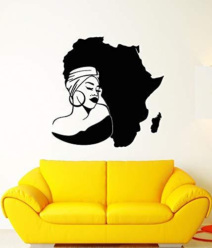 mlpnko Vinyl Wandtattoo Afrika Kontinent Karte African Girl Bandana Sticker85X100cm