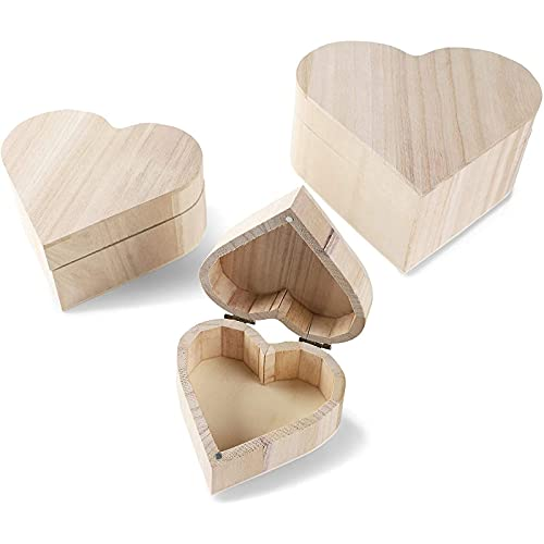Bright Creations Unfinished Wood Box with Magnetic Hinged Lid, Heart Jewelry Box (3 Pack)
