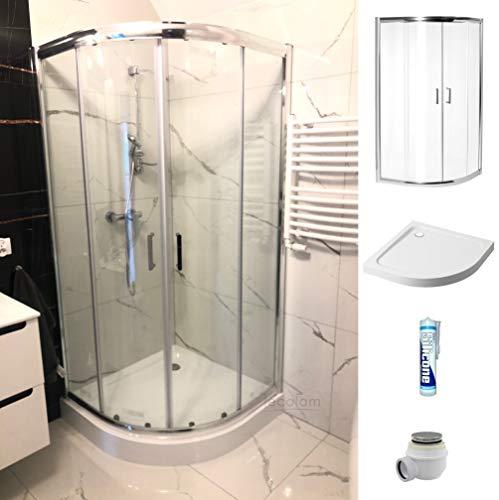 ECOLAM Duschset Duschkabine + Duschwanne Dusche Schiebetür 80x80x185 cm Gesamthöhe 197 cm Viertelkreis R55 Siphon Silikon Komplett-Set (80x80 cm)