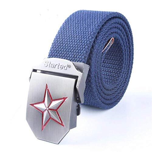 FDDSSYX Cinturón Lona,Azul Hombres Mujeres Cinturón De Lona Moda Casual Doble Anillo Hebilla Cinturón Color Raya Jeans Cinturones para Mujeres Correa Masculina, 120Cm