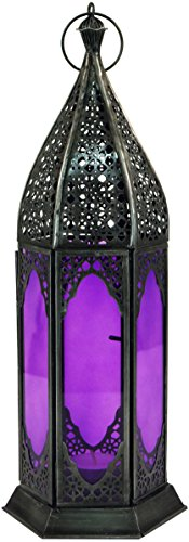 Guru-Shop Oosterse Metalen/glazen Lantaarn in Marokkaans Design, Lantaarn in 6 Kleuren, Paars, IJzer, Kleur: Paars, 35x11,5x11,5 cm, Oosterse Lantaarns