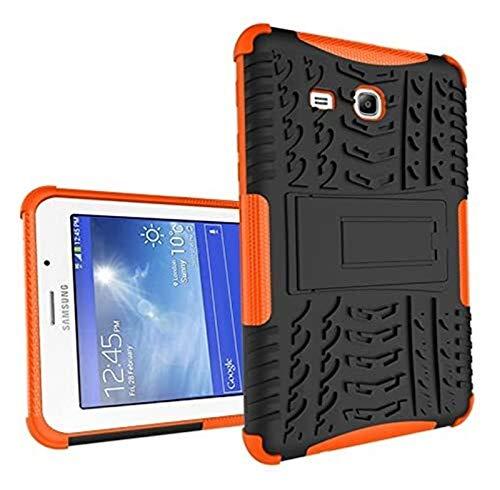 YNLRY Fundas para tablet Samsung Tab 3 Lite 7.0 T110, funda híbrida de doble capa desmontable [soporte] 2 en 1 resistente a los golpes (color: naranja)