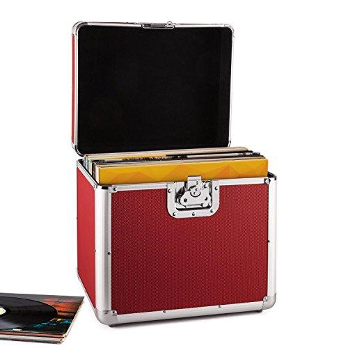 Resident DJ Time Capsule Custodia Valigia Porta vinili 70 Pezzi LP (Profilo in Alluminio Bordi e Cerniera in Metallo, alloggiamento in Alluminio, Imbottitura in Velluto) Rossa