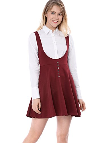 Allegra K Damen A Linie Button Dekor Träger Minikleid Kleid Rot XS