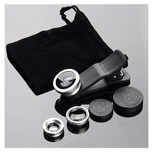Heaviesk Handy-Kameraobjektiv-Kit Fischaugenobjektiv 2 in1 Makroobjektiv & Superweitwinkelobjektiv mit schwarzem Universal-Telefonclip