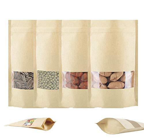 Rendcqin Braune Papier Beutel,100 mit Transparentem Fenster Kraftpapier Tüten Zipper Pouches Wiederverwendbare Standbodenbeutel, für Lebensmittel Tee Kaffee, Getrocknete Früchte (14X22cm)