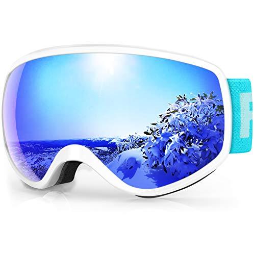 findway Gafas Esqui Niños 3~8 Años Mascara Esqui Niño Gafas de Esqui Niña Niño,Ajustable Anti-Niebla Protección UV Compatible con Casco para Esquiar Deportes de Invierno (Lente Azul (VLT 7.29%))