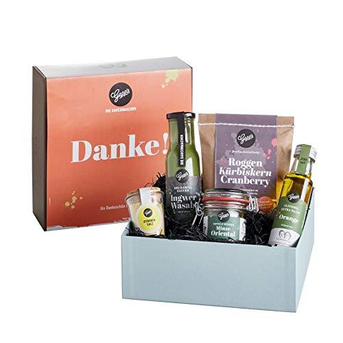 Gepp's Feinkost Geschenkbox Danke | Geschenkset mit köstlichen Delikatessen, hergestellt nach eigener Rezeptur | Perfektes Geschenk zum Geburtstag oder um einfach Danke zu sagen